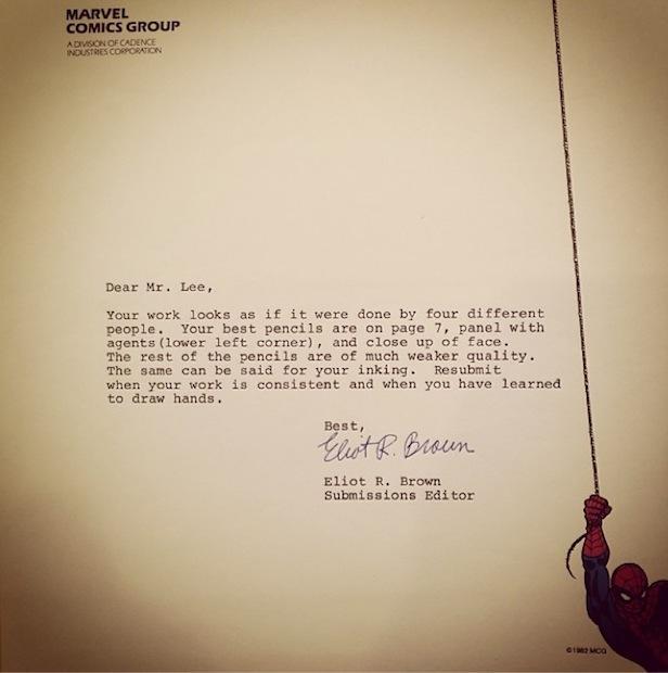Jim Lee rejection letter