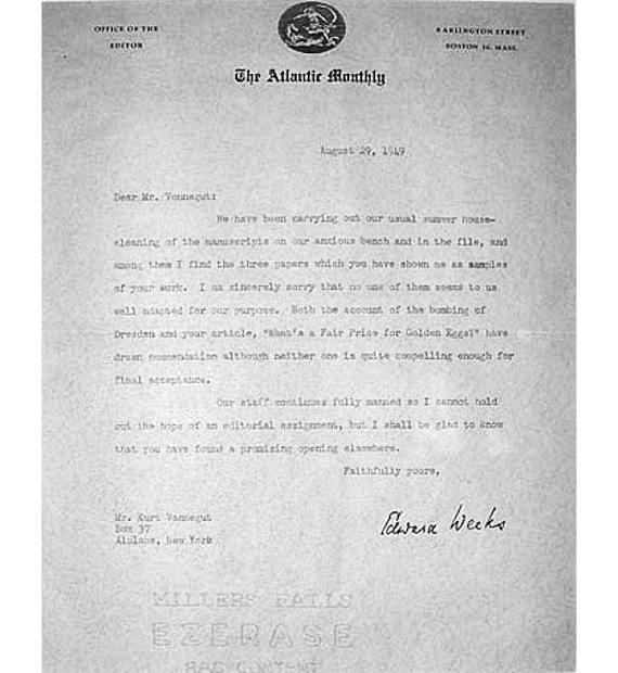 Kurt Vonnegut rejection letter