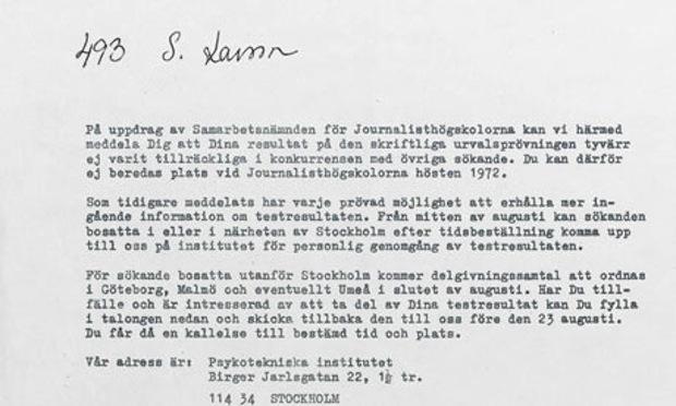 Stieg Larsson rejection letter