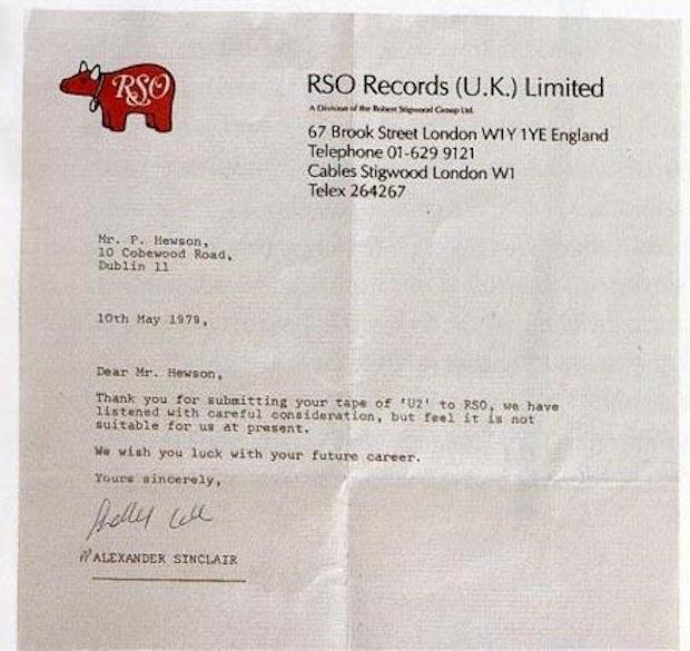 U2 Bono rejection letter