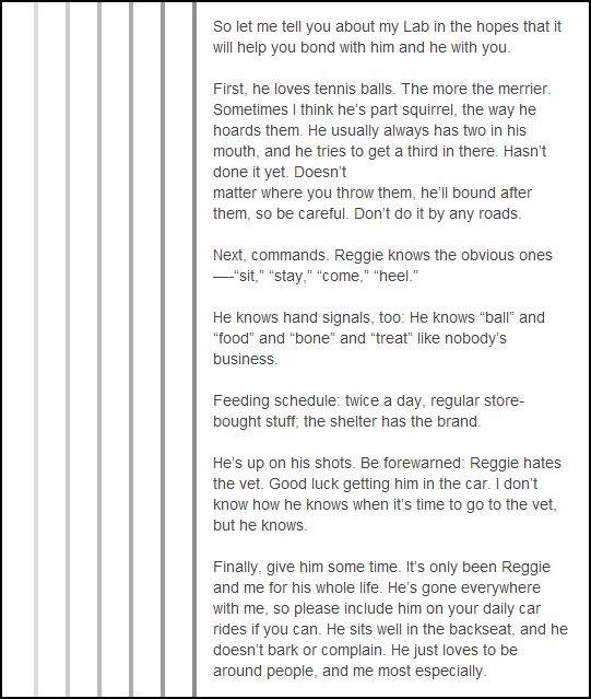 The story of Reggie, the Black Lab
