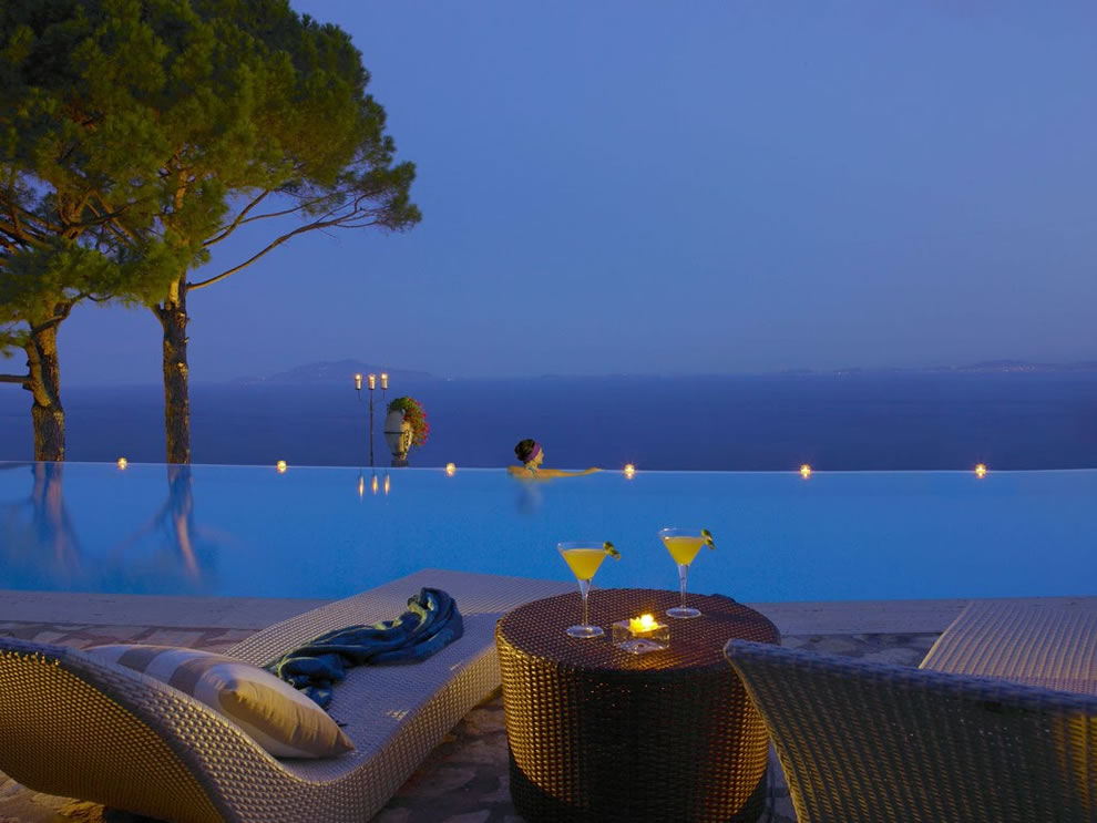 Cliffside Infinity Pool at Hotel Caesar Augustus, Italy