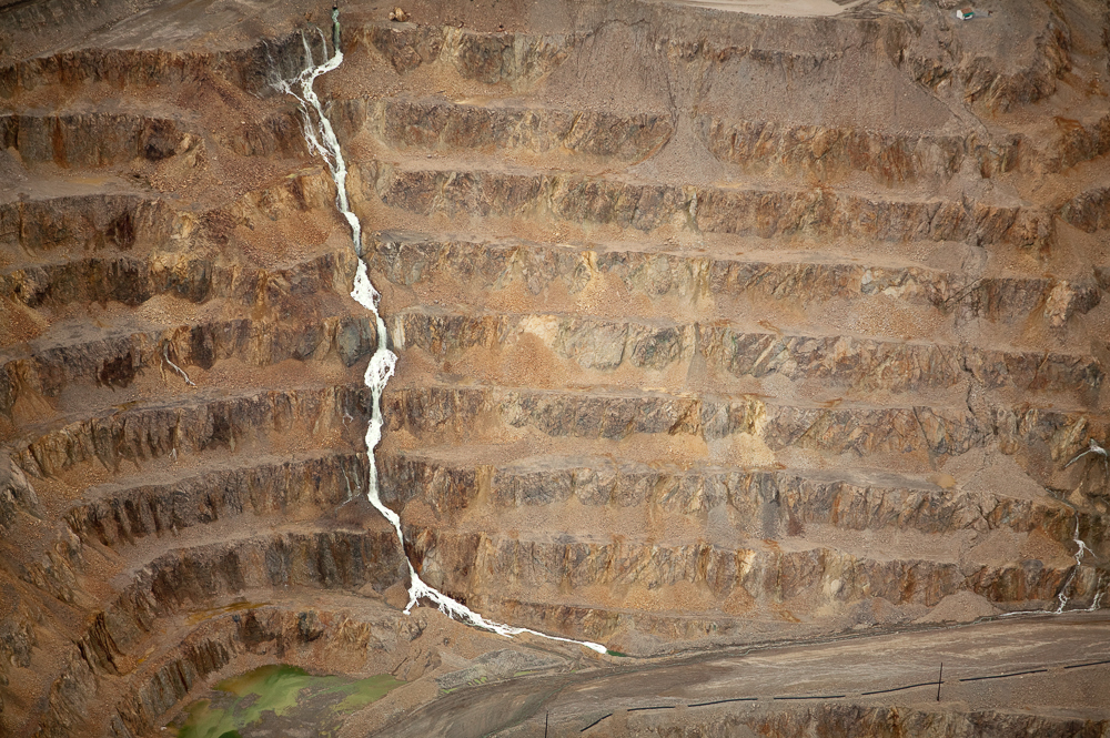 Phelps Dodge Large open pit mine and tailings