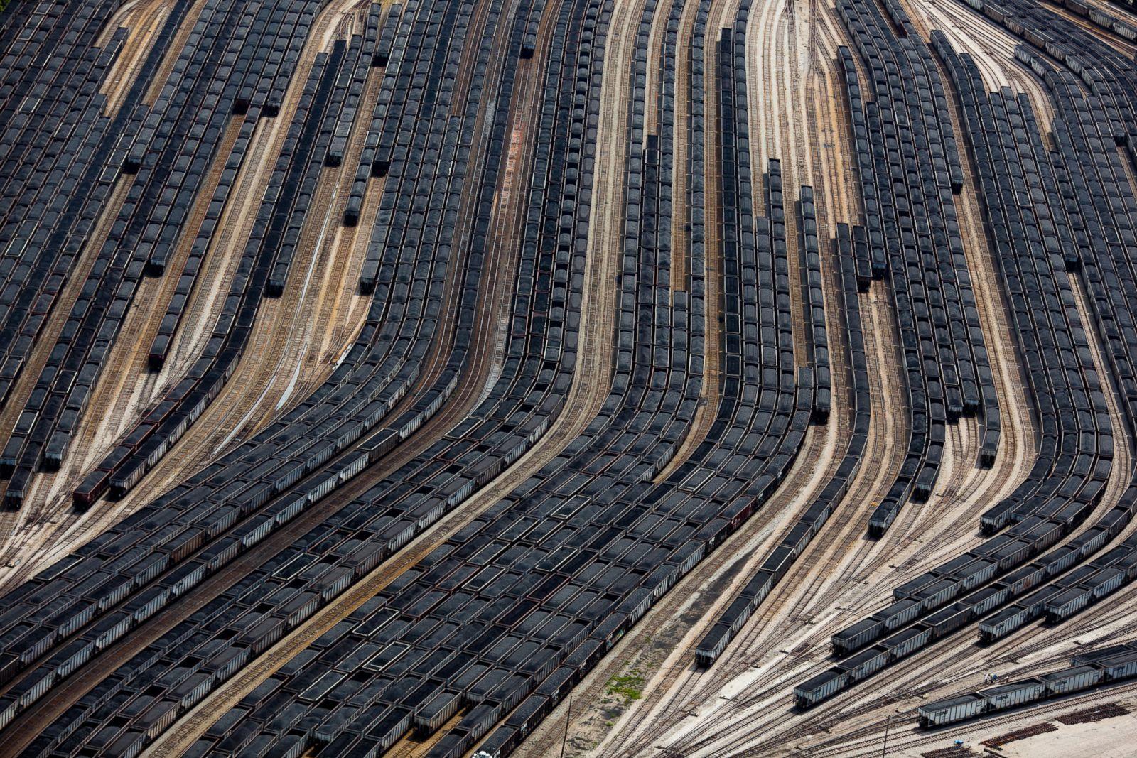 Loaded coal train cars in Norfolk, Virginia