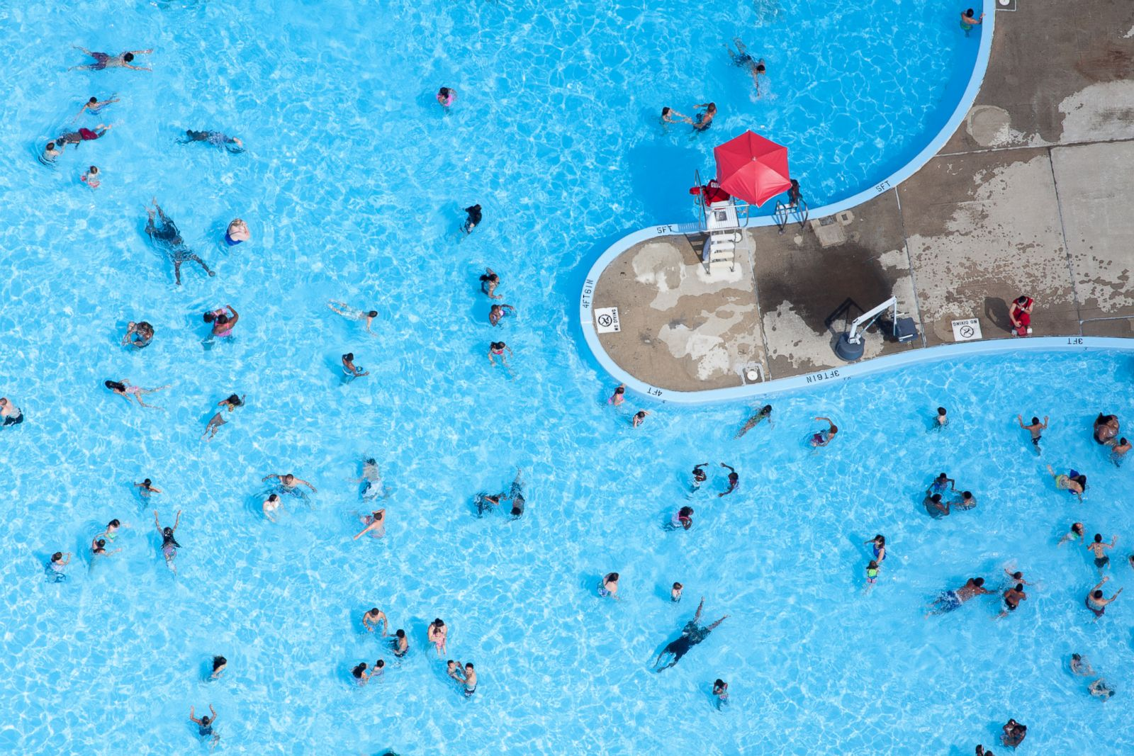 People swimming in a pool in Cambridge, Massachussets