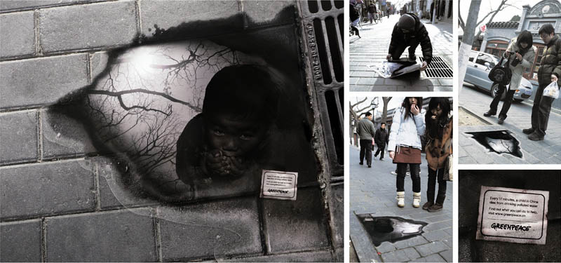 greenpeace-puddle-reflection-sidewalk-sticker-ad