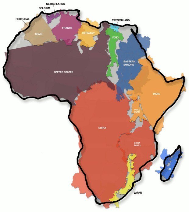 Africa is bigger than the United States, China, India, Spain, France, and several other countries combined