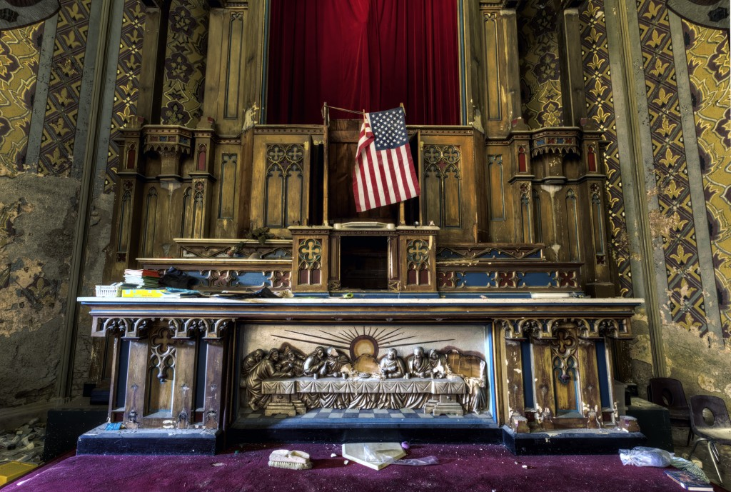 An altar at a disused church in Pennsylvania found by Mr Barter is left to rack and ruin