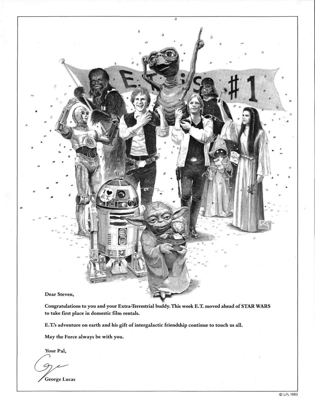 George Lucas' Ad Congratulating Steven Spielberg For E.T. The Extra-Terrestrial