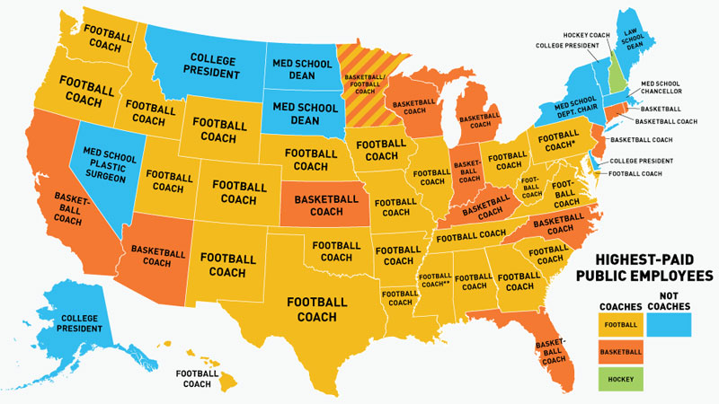 Highest-Paid U.S. Public Employees By State