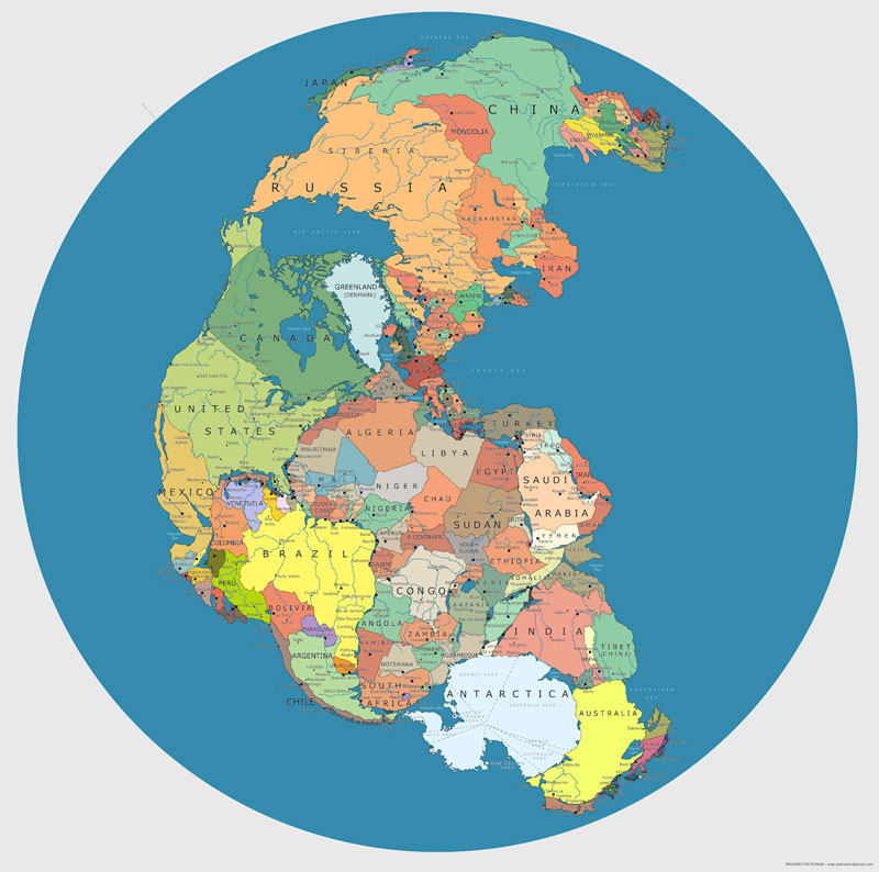 Map Of Supercontinent Pangea 200-300 Million Years Ago With Current International Borders