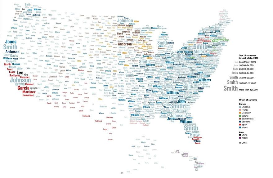 Map Of The Most Popular Surnames In The United States