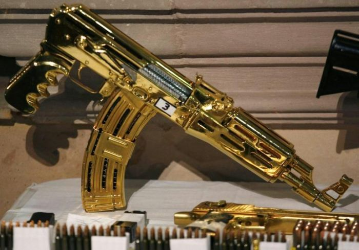 Mexican Drug Lord Home - More Gold machine guns and pistols - most were never fired just held for collection value