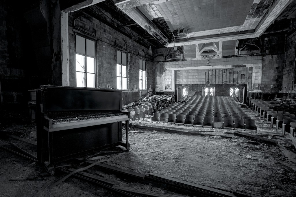 School assemblies would have once taken place in this hall at an elementary school in Pennsylvania but now the seats are starting to rot 2