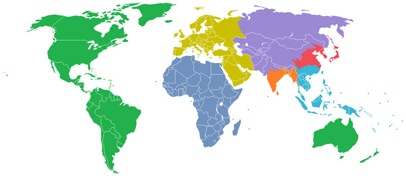 The World Divided Into 7 Regions Each With A Population Of 1 Billion