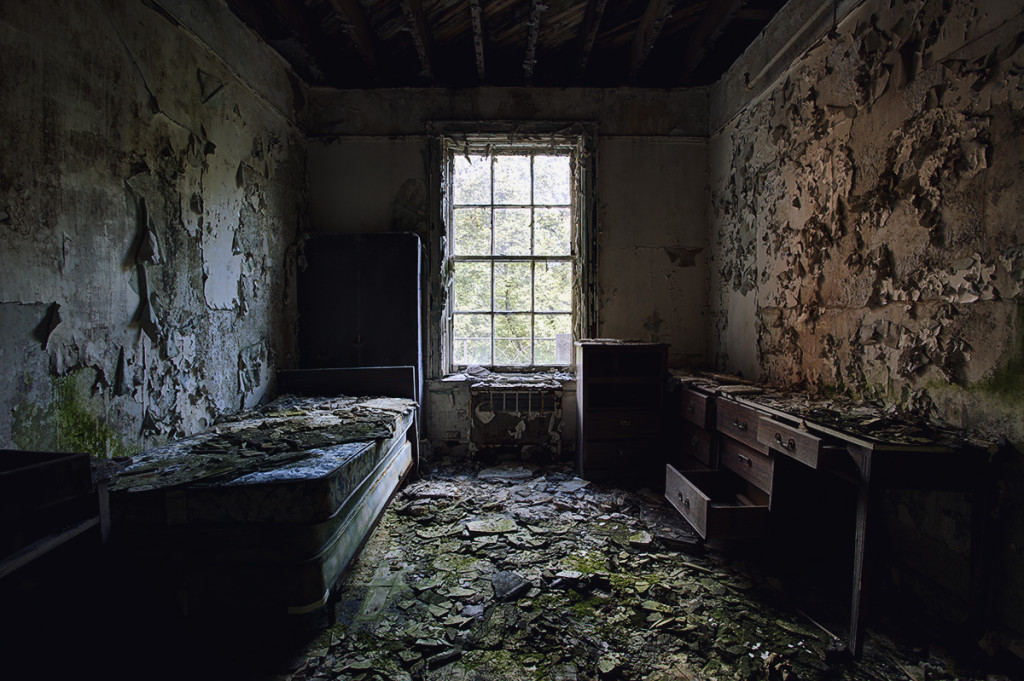 This crumbling bedroom was once a guest room at a Masonic Lodge in New York, untouched since the building closed its doors