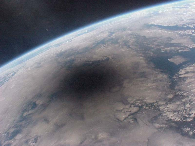 This is what an eclipse on Earth looks like from space
