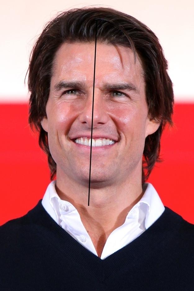 Tom Cruise has an asymmetrical face