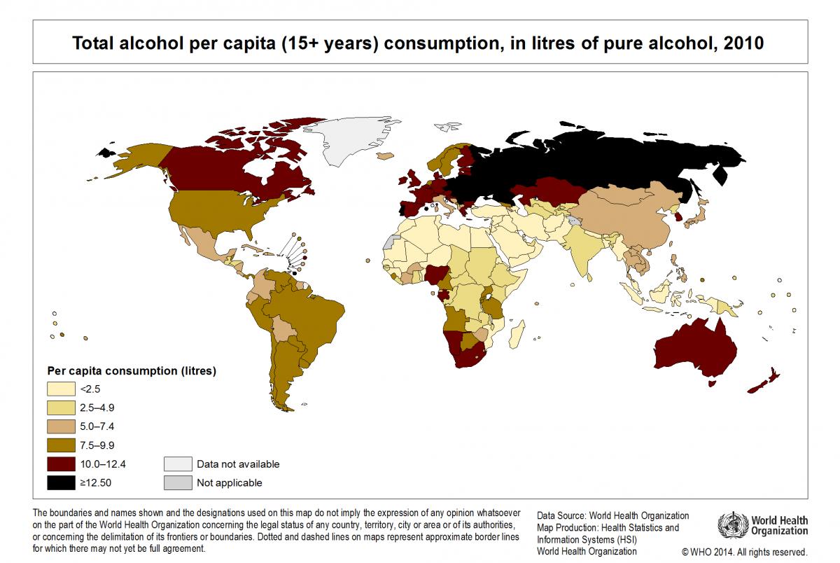 Worldwide Annual Alcohol Consumption Per Capita