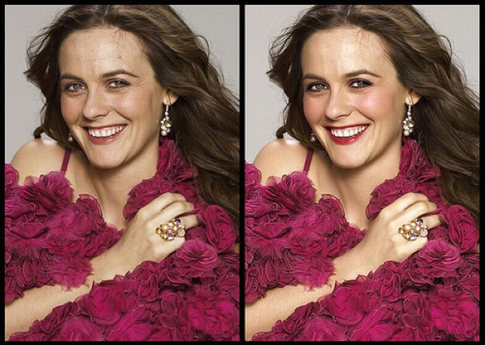 Alicia Silverstone Before & After Photoshop