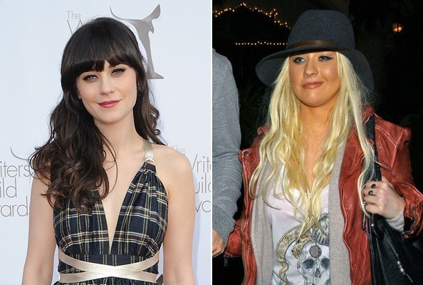 Zooey Deschanel and Christina Aguilera