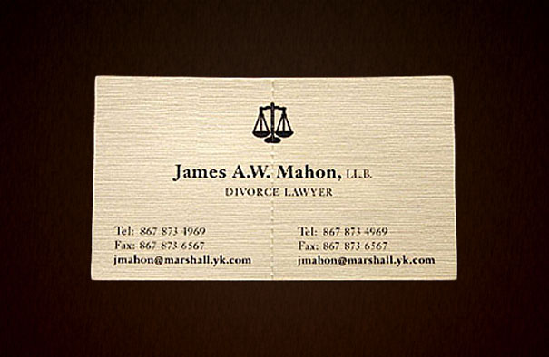 Divorce Lawyer's Tearable Business Card