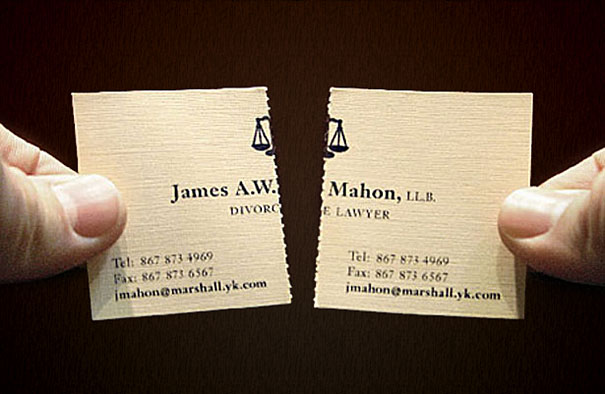 Divorce Lawyer's Tearable Business Cards