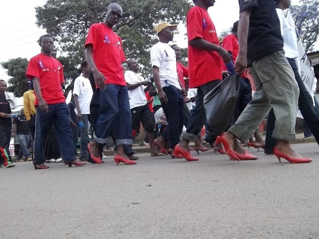 Men walking in women's shoes