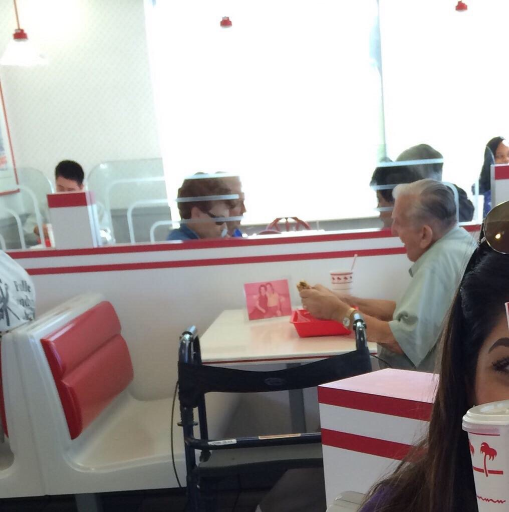 Old Man Eating Alone At In N Out