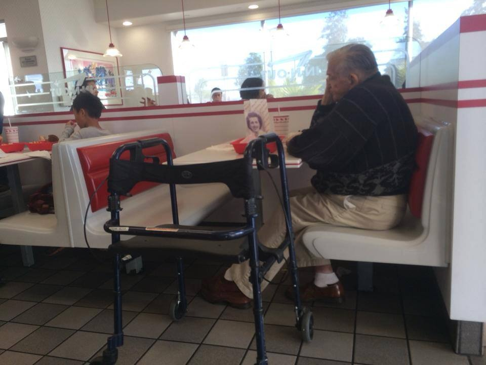 Old Man Eating By Himself At In N Out