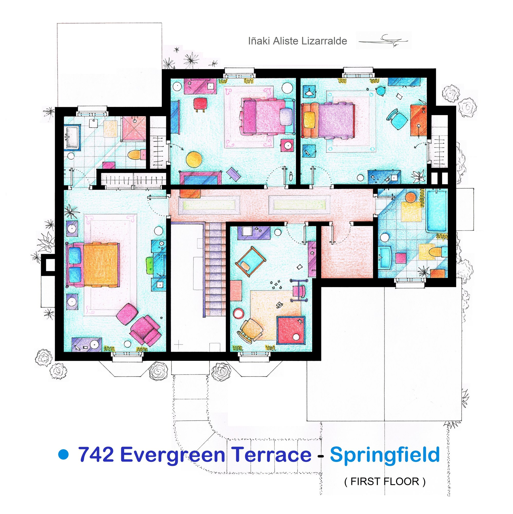 The Simpsons Apartment Floor Plan (2nd Floor)