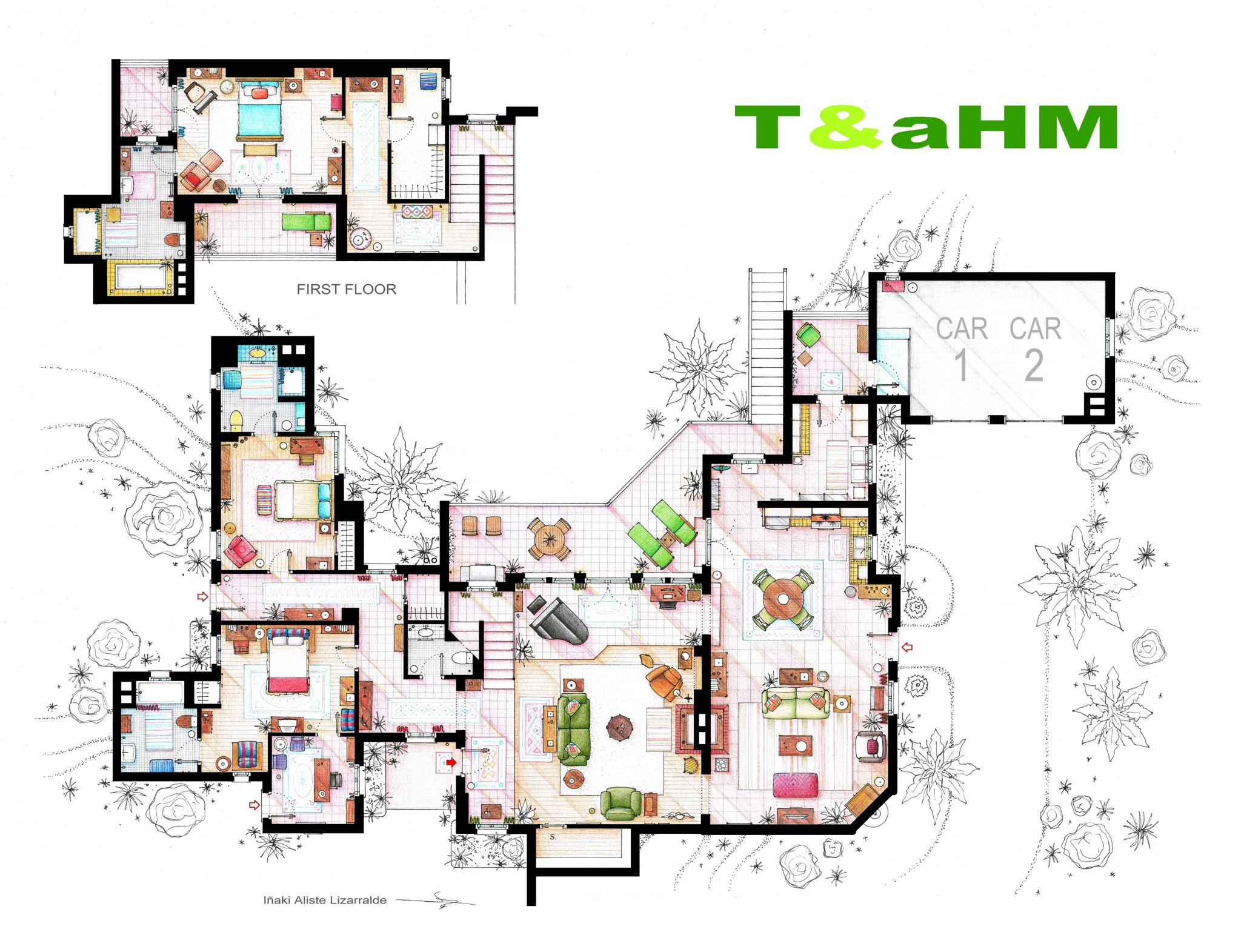 Two & A Half Men Apartment Floor Plan