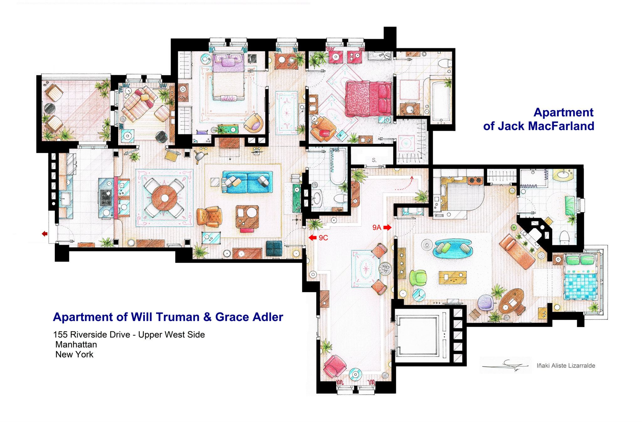 Will & Grace Apartment Floor Plan