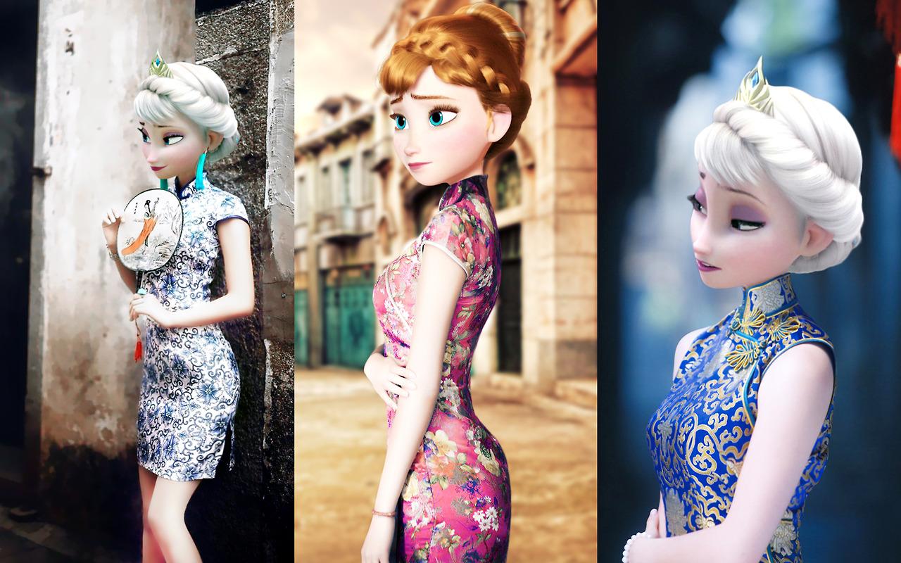 Frozen Elsa & Anna In Qipao