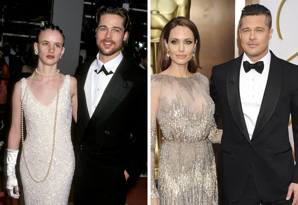 Brad Pitt 1992 (with Juliette Lewis) and 2014 (with Angelina Jolie)