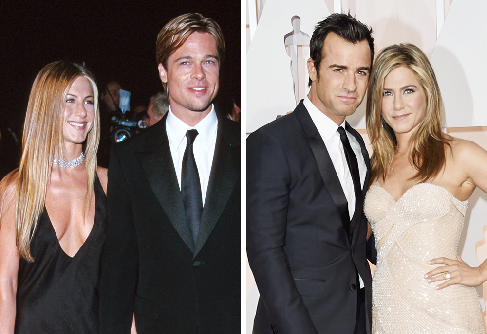 Jennifer Aniston 2000 (with Brad Pitt) and 2015 (with Justin Theroux)