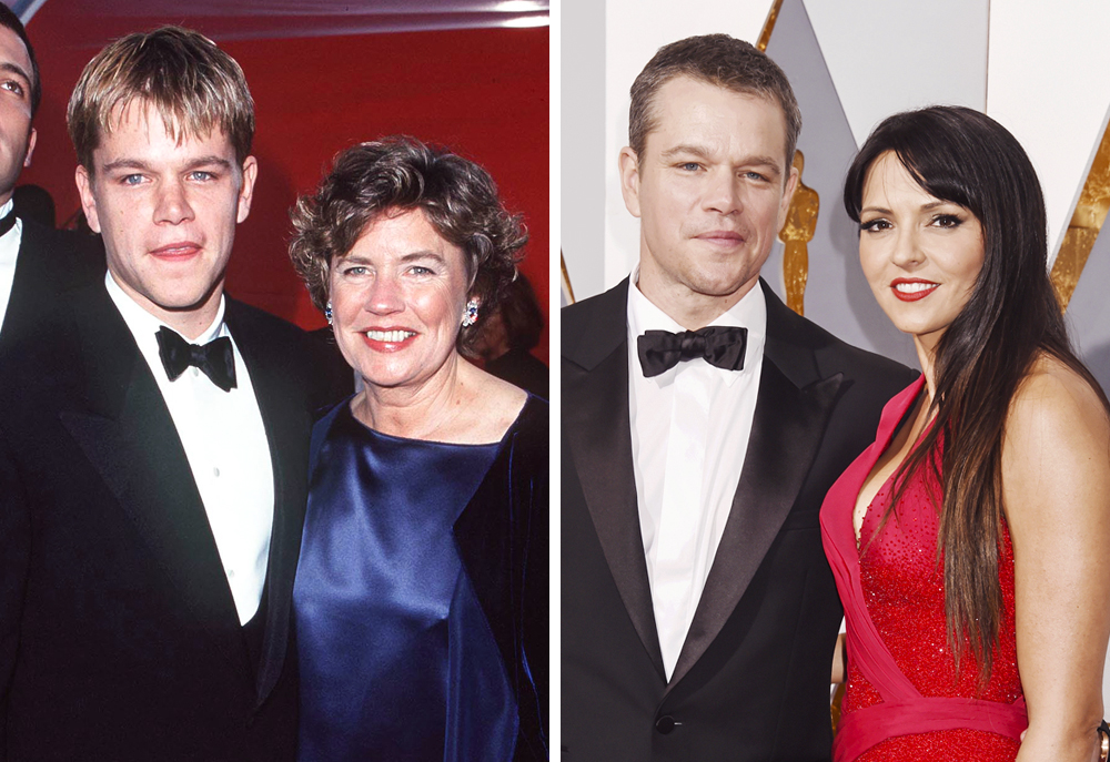 Matt Damon 1998 (with mother Nancy) and 2016 (with Luciani Barroso)